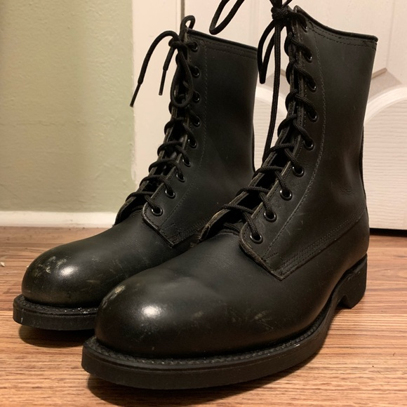 3a17b2aa337 Black Vintage Mens Military Combat Boots Size 6.5